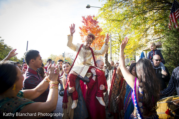 Baraat in Washington, D.C. Indian Fusion Wedding by Kathy Blanchard Photography