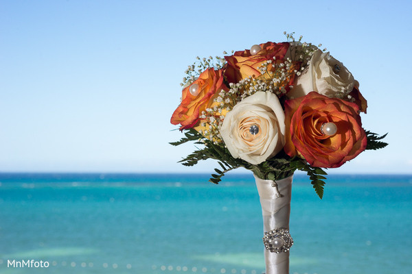 Bridal Bouquet in Montego Bay, Jamaica South Asian Wedding by MnMfoto
