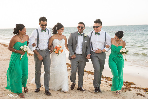 Wedding Party Portrait in Montego Bay, Jamaica South Asian Wedding by MnMfoto