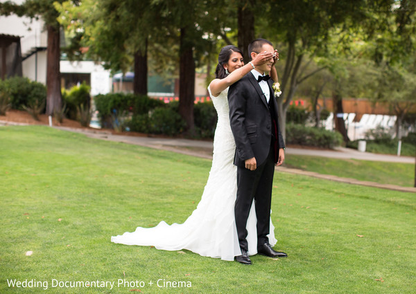 First Look in Walnut Creek, CA Indian Fusion Wedding by Wedding Documentary Photo + Cinema