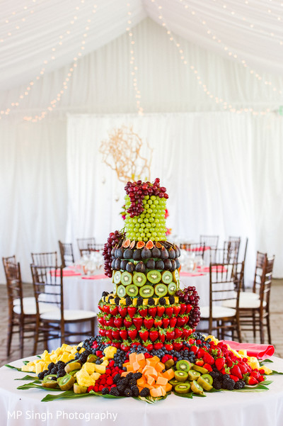 Reception Cake in Sonoma, CA Indian Wedding by MP Singh Photography