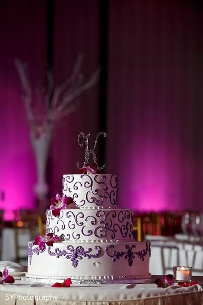 Reception Cake in New Brunswick, NJ Indian Wedding by SYPhotography