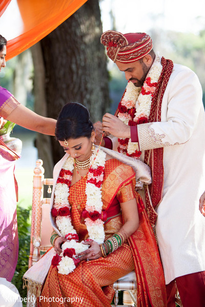 Ceremony in Palm Harbor, Florida Indian Wedding by Kimberly Photography