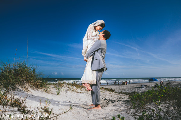 Portraits in Cocoa Beach, FL Destination Indian Wedding by Fenglong Photography