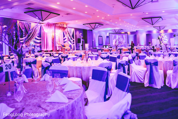 Reception Decor in Cocoa Beach, FL Destination Indian Wedding by Fenglong Photography