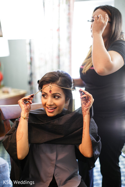 Getting Ready in Pearl River, NY Indian Wedding by KSD Weddings