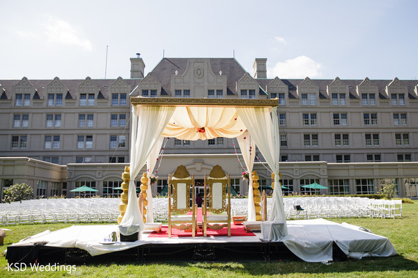 Mandap in Pearl River, NY Indian Wedding by KSD Weddings