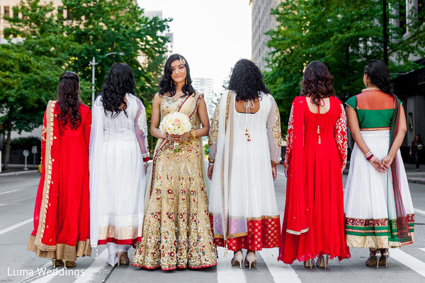Bridal Party Portrait in Seattle, WA Indian Fusion Wedding by Luma Weddings