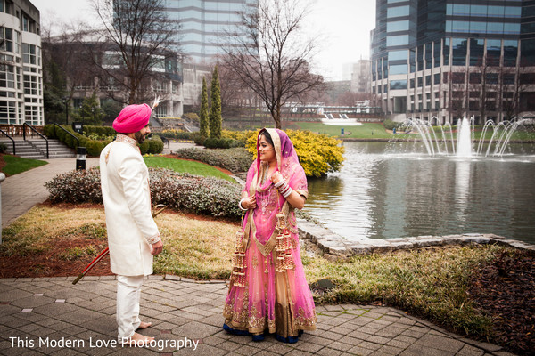 First Look in Atlanta, GA Indian Wedding by This Modern Love Photography
