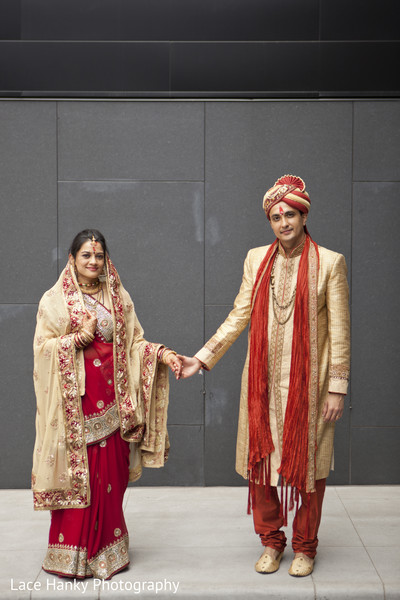 First Look in Bloomington, MN Indian Wedding by Lace Hanky Photography