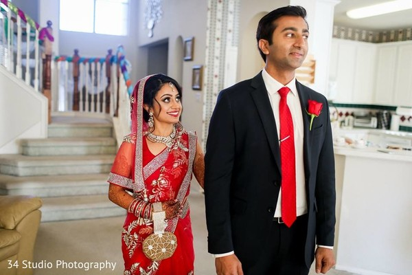 First Look in Plano, TX South Asian Wedding by 34 Studio Photography