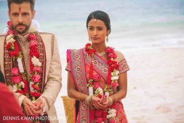 Ceremony in Mexico Destination Indian Fusion Wedding by Dennis Kwan Photography