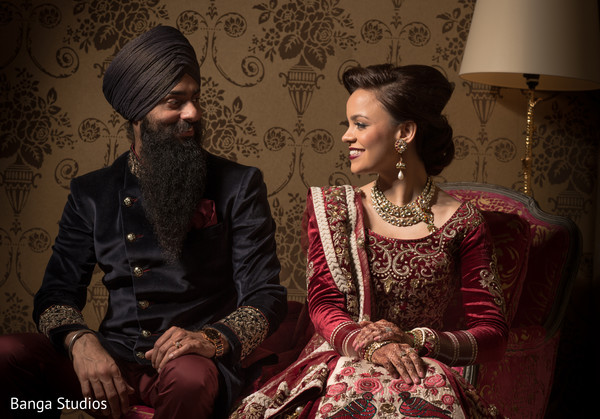 Reception Portrait in Ontario, Canada Sikh Wedding by Banga Studios