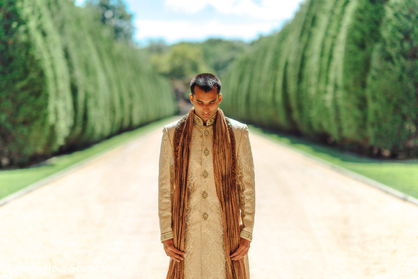Groom Portrait in Huntington, NY Indian Wedding by Golden Hour Studios