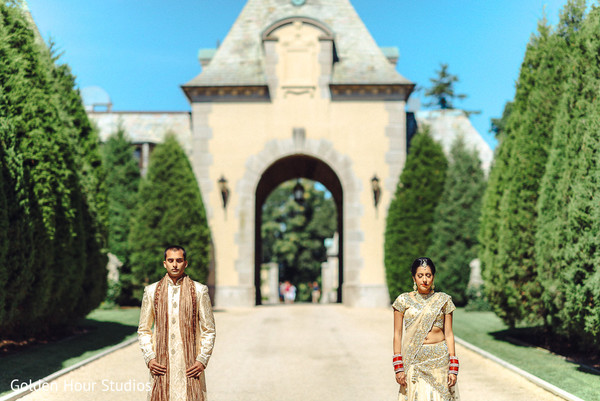 First Look in Huntington, NY Indian Wedding by Golden Hour Studios