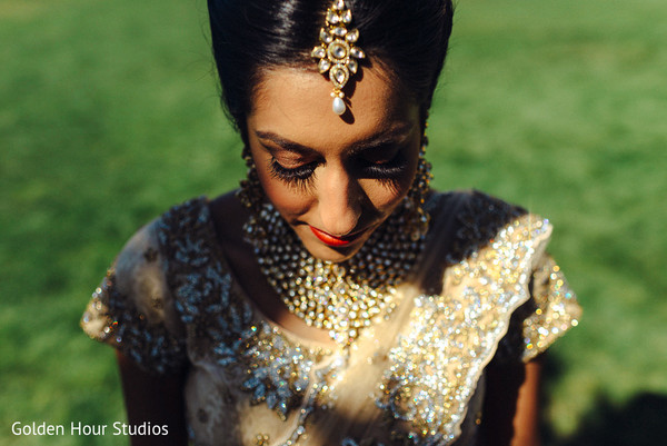 Bridal Portrait in Huntington, NY Indian Wedding by Golden Hour Studios