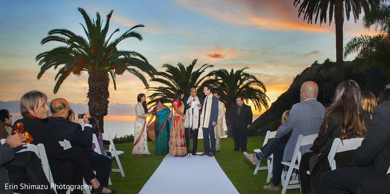 Ceremony in Pacific Palisades, CA Indian Fusion Wedding by Erin Shimazu Photography