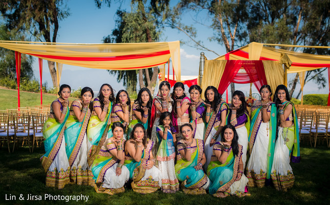 indian wedding portraits,indian bridesmaids,indian sari