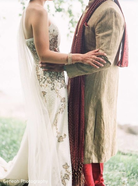 First Look in Edgerton, WI Indian Fusion Wedding by Geneoh Photography