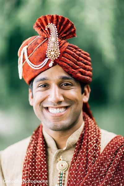 Groom Portrait in Edgerton, WI Indian Fusion Wedding by Geneoh Photography