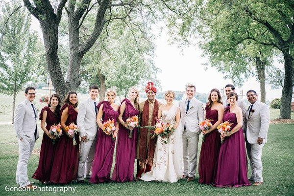 Wedding Party Portrait in Edgerton, WI Indian Fusion Wedding by Geneoh Photography