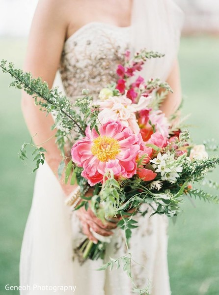 Bridal Bouquet in Edgerton, WI Indian Fusion Wedding by Geneoh Photography