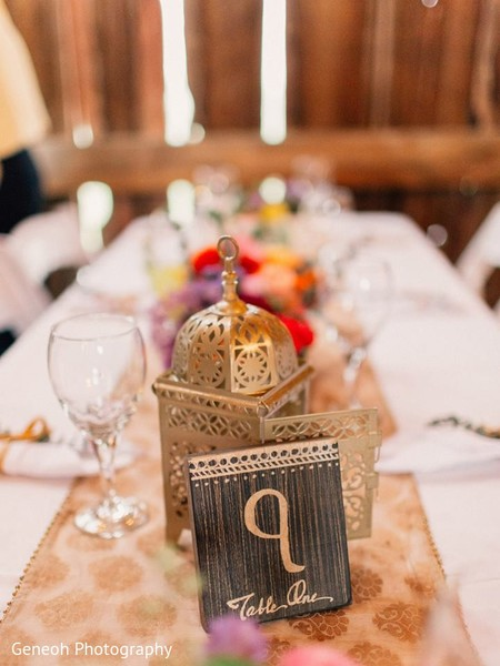 Table Decor in Edgerton, WI Indian Fusion Wedding by Geneoh Photography
