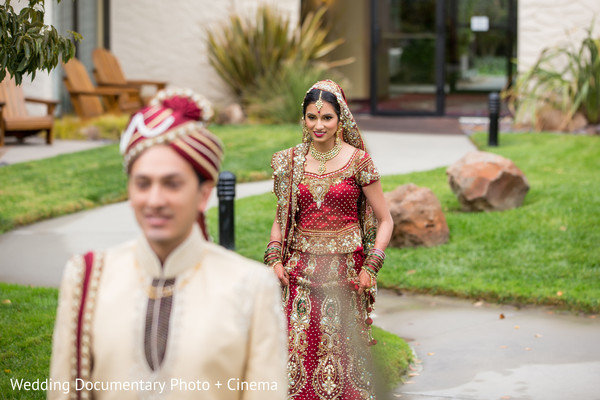 First Look in Santa Clara, CA Indian Wedding by Wedding Documentary Photo + Cinema