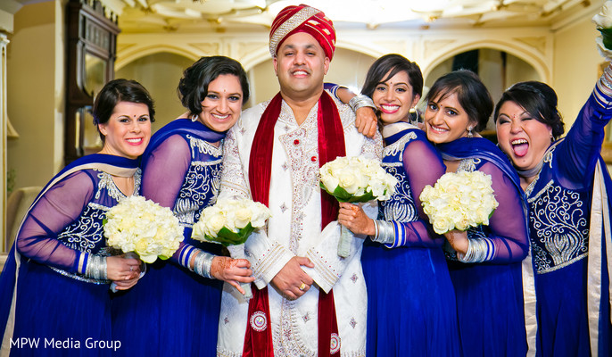 Bridal Party Portrait in New Rochelle, NY Indian Wedding by MPW Media Group