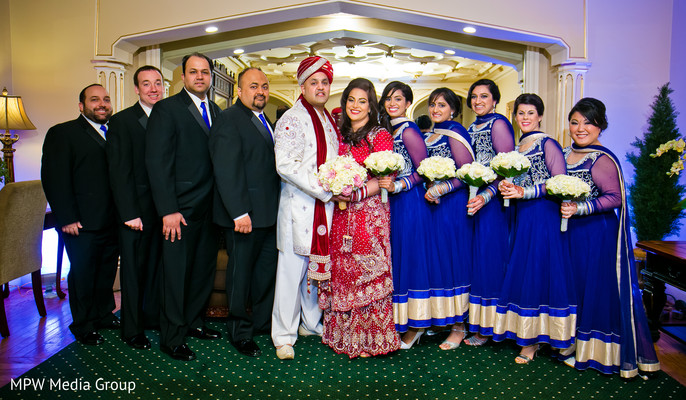 Wedding Party Portrait in New Rochelle, NY Indian Wedding by MPW Media Group