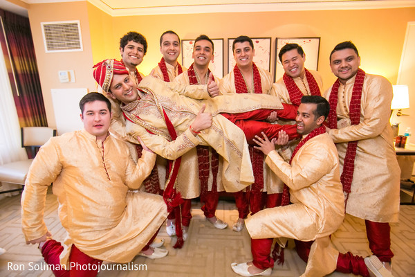 Groomsmen Portrait in Atlantic City, NJ Indian Wedding by Ron Soliman Photojournalism