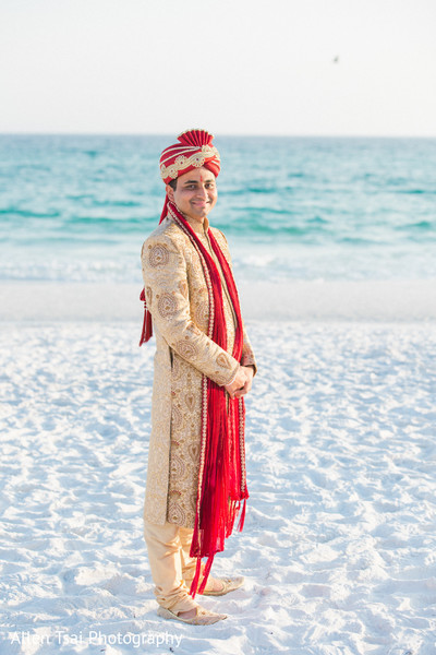 Groom Portrait in Miramar Beach, FL Buddhist Hindu Fusion Wedding by Allen Tsai Photography