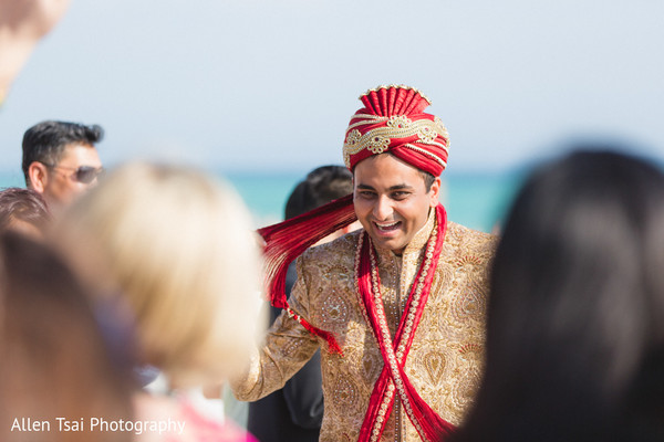Baraat in Miramar Beach, FL Buddhist Hindu Fusion Wedding by Allen Tsai Photography
