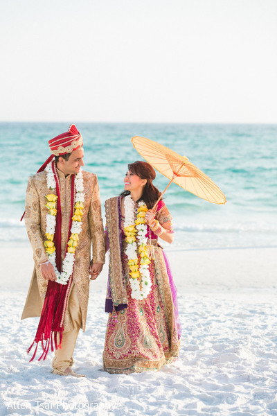 Wedding Portrait in Miramar Beach, FL Buddhist Hindu Fusion Wedding by Allen Tsai Photography