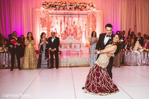 indian wedding reception,indian bride and groom first dance