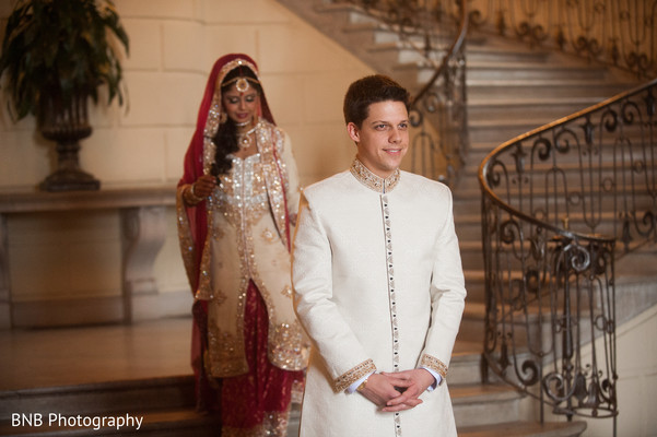 First Look in Huntington, NY South Asian Fusion Wedding by BNB Photography