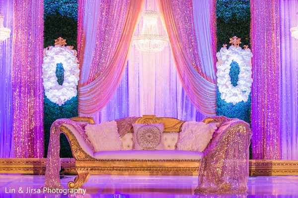 indian wedding reception floral and decor,sweetheart stage