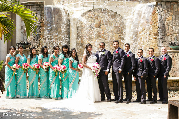 Wedding Party Portrait in Englewood, NJ Indian Wedding by KSD Weddings
