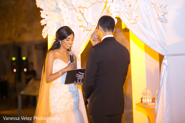 Ceremony in San Juan, Puerto Rico Destination Indian Wedding by Vanessa Velez Photography