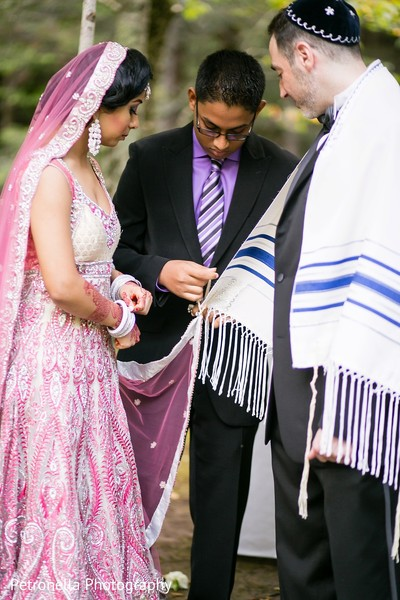 Ceremony in Big Indian, New York Hindu-Jewish Fusion Wedding by Petronella Photography