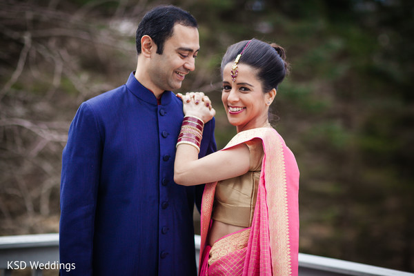First Look in Poughkeepsie, NY Indian Wedding by KSD Weddings