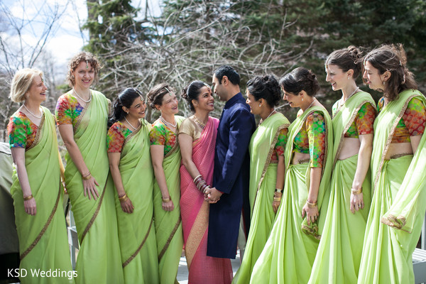 Bridal Party Portrait in Poughkeepsie, NY Indian Wedding by KSD Weddings