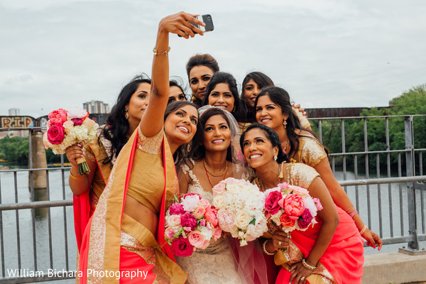 Bridal Party Portrait in Austin, TX Indian Wedding by William Bichara Photography