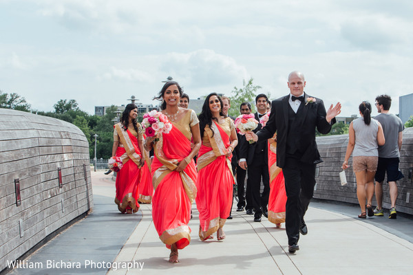 Wedding Party Portrait in Austin, TX Indian Wedding by William Bichara Photography
