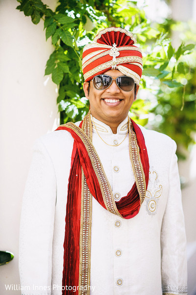 Groom Portrait in Pasadena, CA Indian Wedding by William Innes Photography