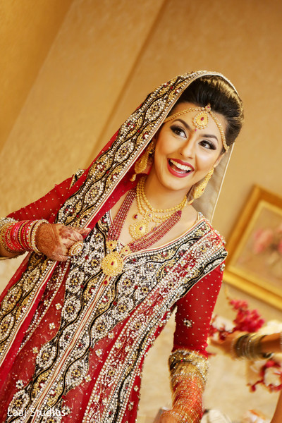Bridal Portrait in Edison, NJ Mehndi Night by Laaj Studios