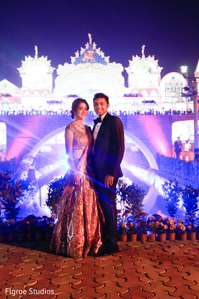Reception Portrait in Mumbai Indian Wedding by Flgroe Studios