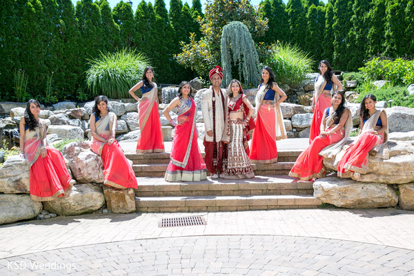 Bridal Party Portrait in Cinnaminson, NJ Indian Wedding by KSD Weddings