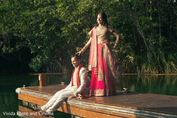 First Look in Playa del Carmen, Mexico Indian Destination Wedding by Vivida Photo & Cinema