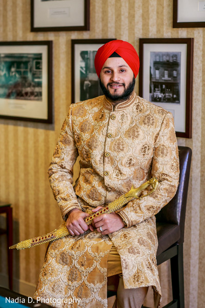 Groom Portrait in Long Island, NY Sikh Wedding by Nadia D. Photography